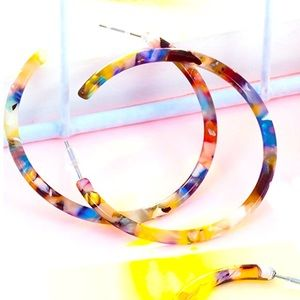 NWOT 2/$16 large resin hoop earrings